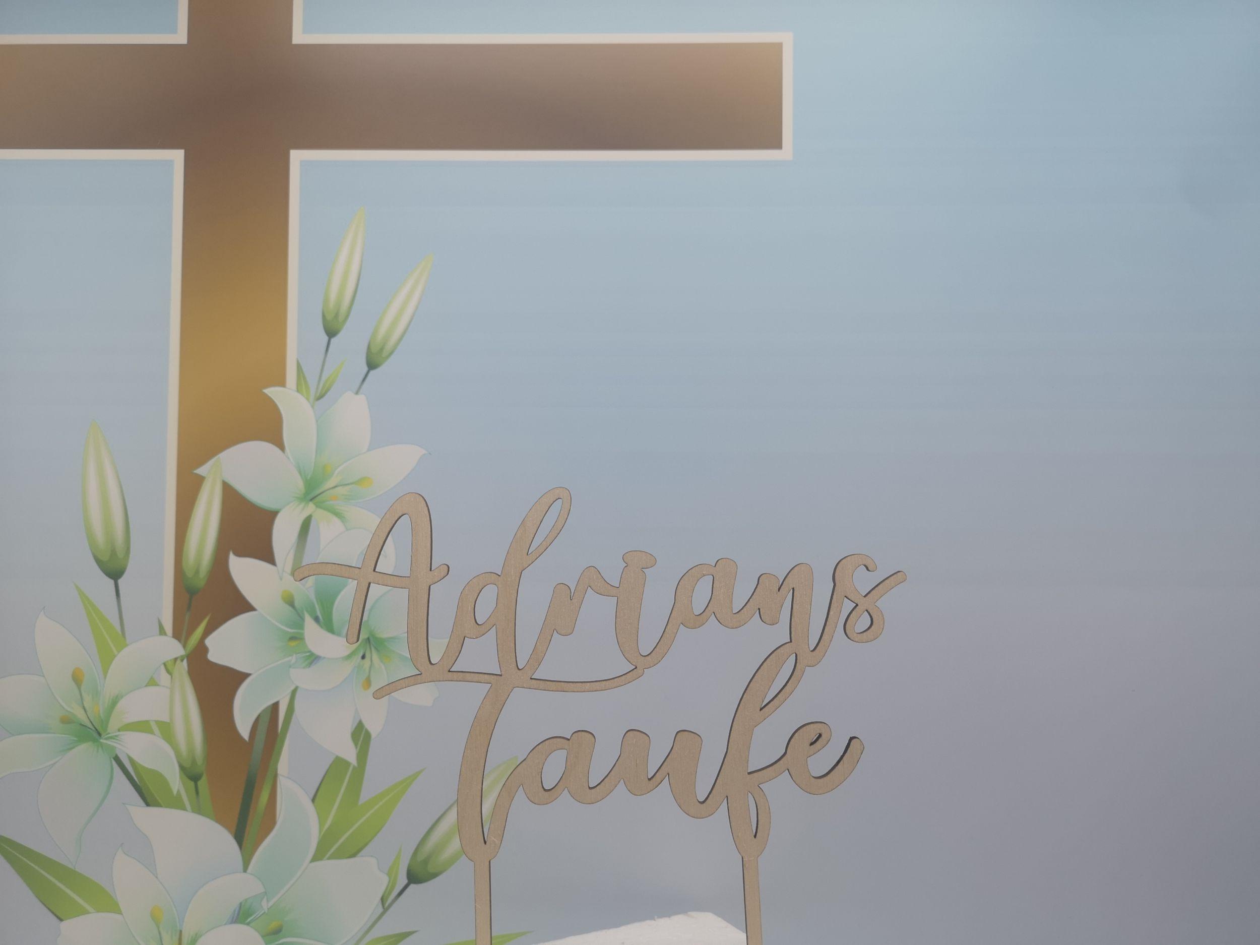 1 x Taufe Tortendeko Topper Torte Holz Kuchen Deko Aufsatz Kirche Cake Fest .