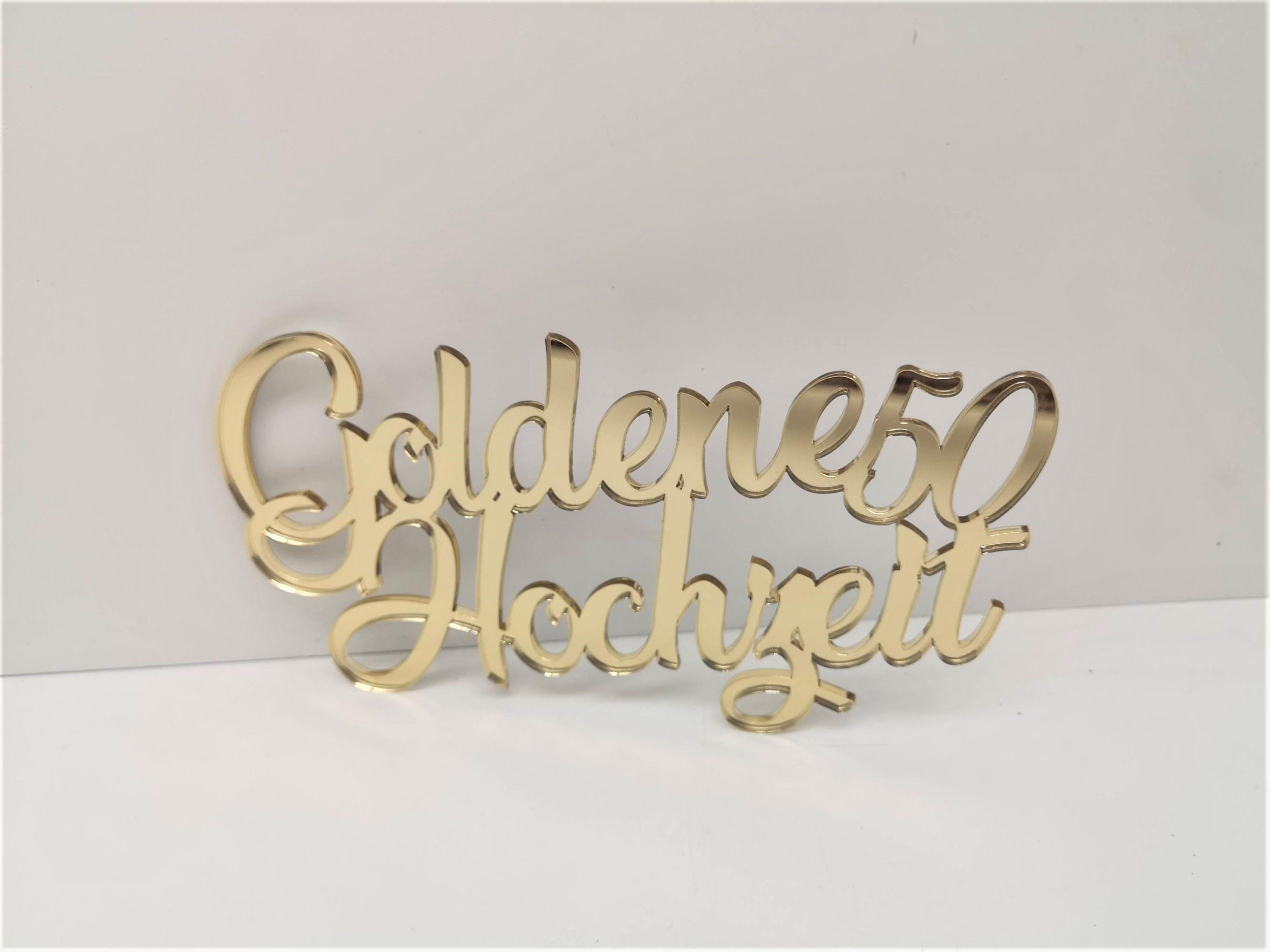 mk-schoenes.de - Schriftzug Goldene Hochzeit mit 50 aus